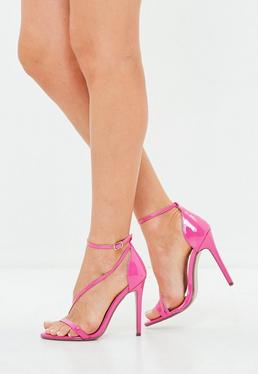 Pink Asymmetric Barely There Stiletto Heel Sandals
