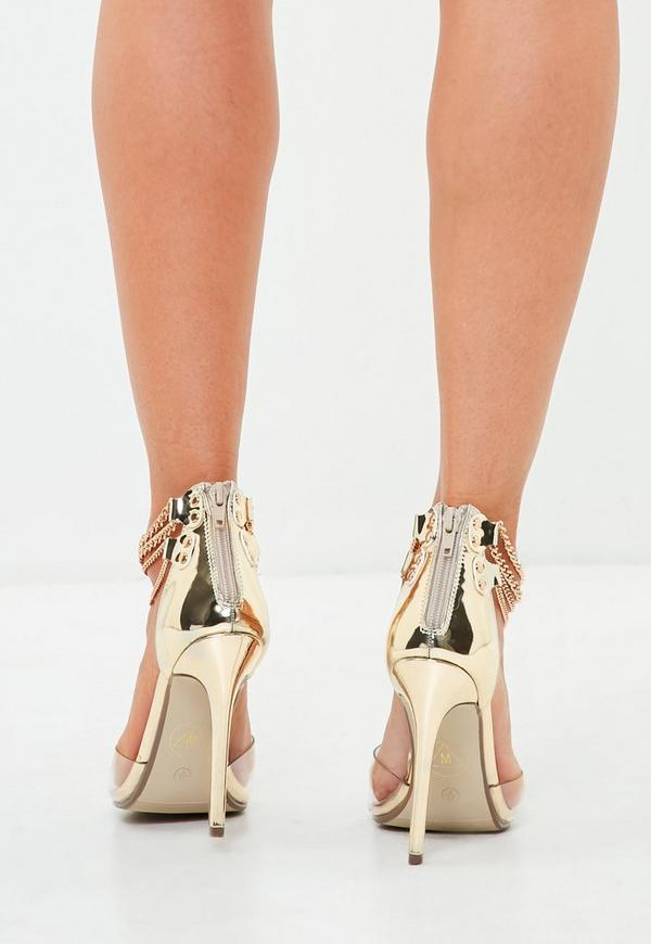 goldene high heels mit kettenriemchen missguided. Black Bedroom Furniture Sets. Home Design Ideas