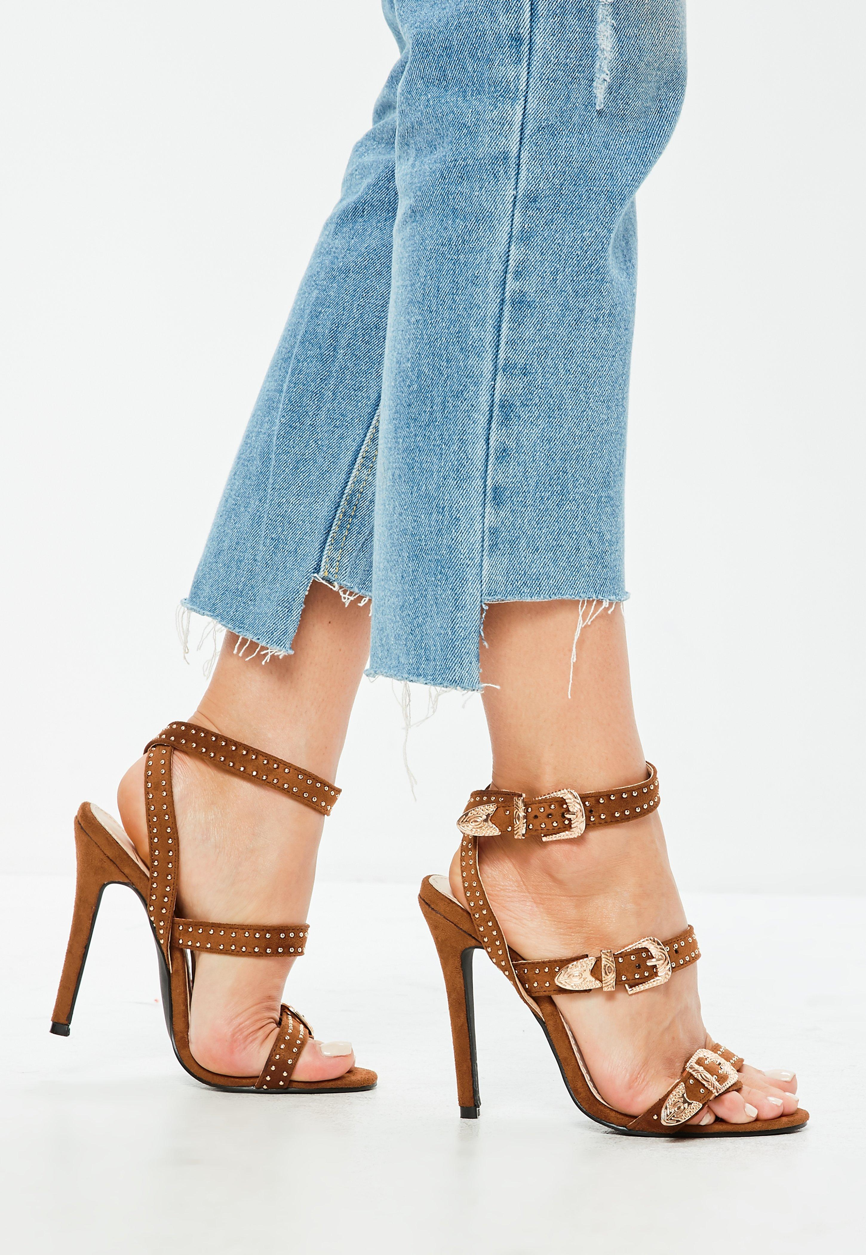 ... Tan Suedette Western Stud Strappy Barely There Heels