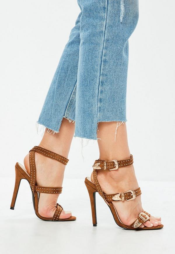 92fbcd37437303 Tan Suedette Western Stud Strappy Barely There Heels