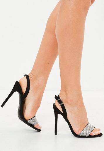 Black Embellished Sling Back Sandal Heels Missguided