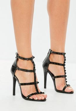 Czarne szpilki sandały gladiatorki z ćwiekami
