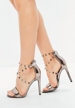 Silver Studded Perspex Cross Strap Sandals