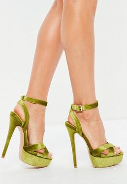 Green Super Platform Cross Strap Heeled Sandals