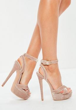 Różowe welurowe szpilki sandały na platformie