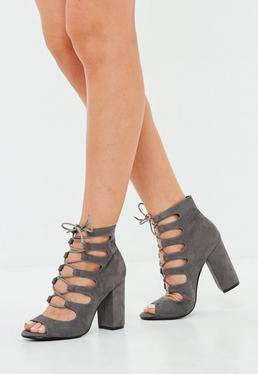 Gray Lace Up Block Heel Sandals