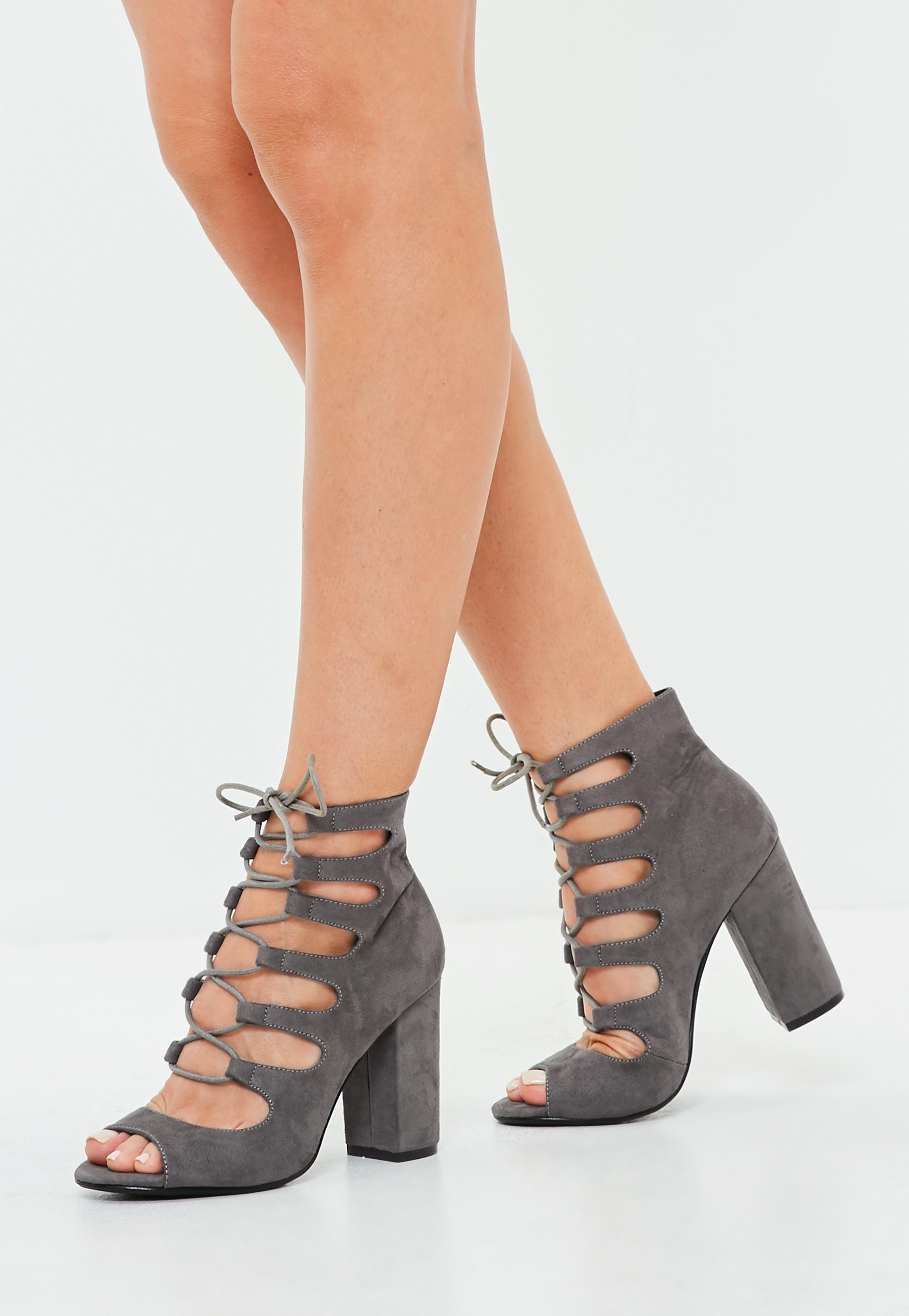Grey Lace Up Block Heel Sandals