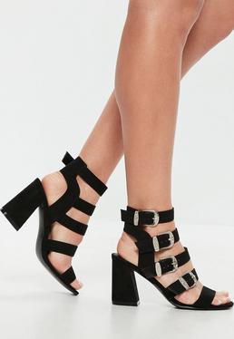 Czarne westernowe sandały na obcasie z klamerkami