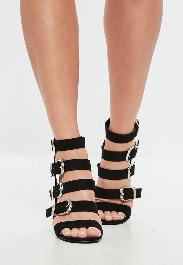 schwarze blockabsatz sandalen mit westernschnallen. Black Bedroom Furniture Sets. Home Design Ideas