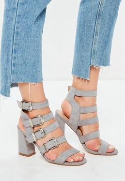 Grey Multi Western Buckle Block Heels