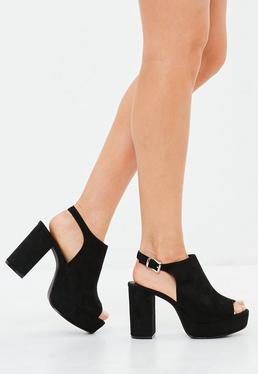 Black Peeptoe Faux Suede Blocked Heel Sandals