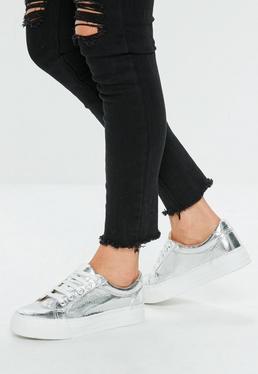 Zapatillas con plataforma con efecto agrietado en plateado