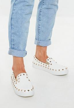 White Studded Slip On Sneakers