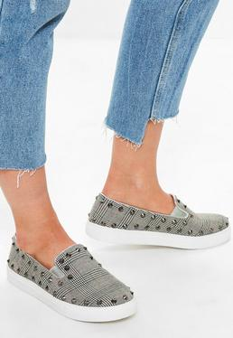 Grey Studded Check Slip On Trainers