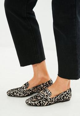 Black Brocade Buckle Loafers