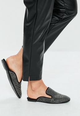 Black All Over Embellished Slip On Mules