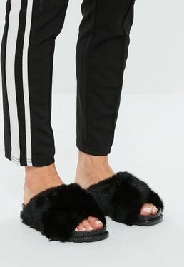 Black Cross Vamp Faux Fur Sliders