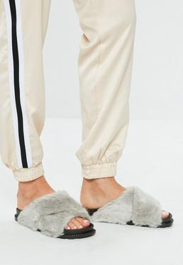 Grey Cross Vamp Faux Fur Sliders