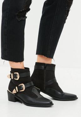Black Western Buckle Trim Cowboy Boots