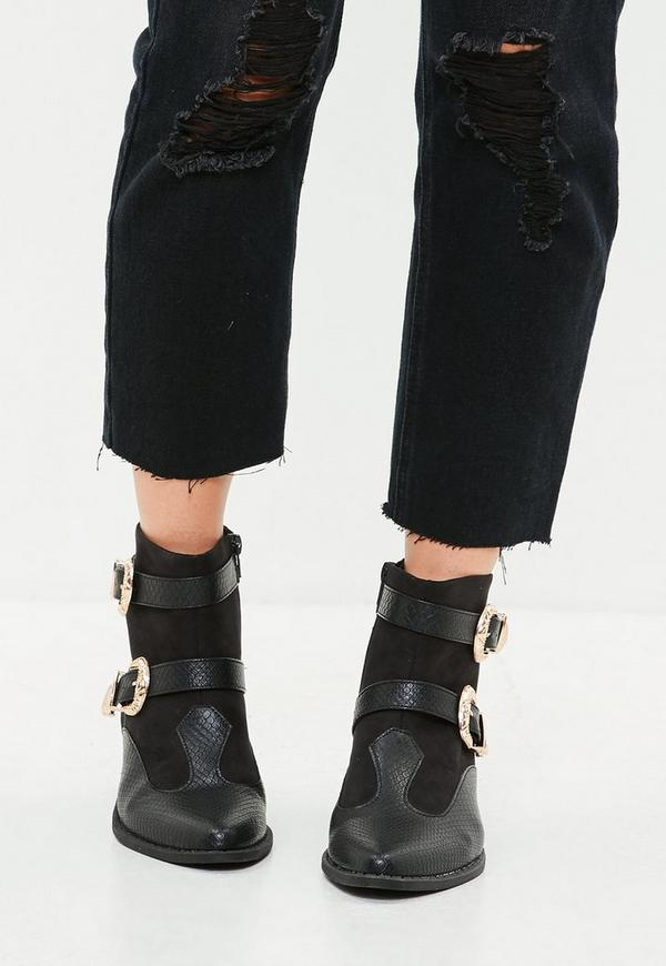 schwarze western ankle boots mit schnallen missguided. Black Bedroom Furniture Sets. Home Design Ideas