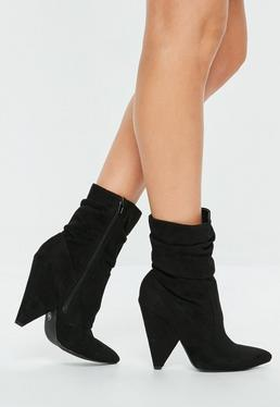Black Ruched Cone Heel Ankle Boots