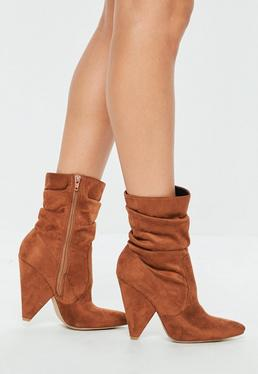 Tan Ruched Cone Heel Ankle Boots