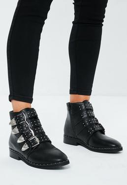 Black Western Style Strappy Boots