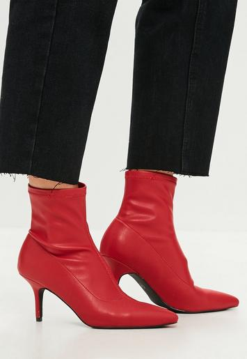 Red Kitten Heel Ankle Boots Missguided