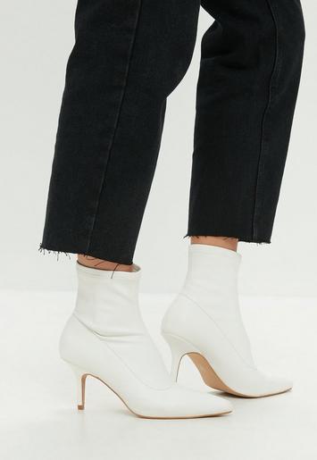 White Kitten Heel Ankle Boot Missguided