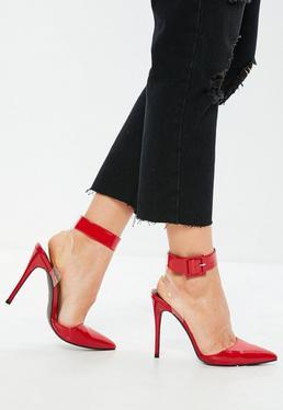 Zapatos de salón sin talón en rojo