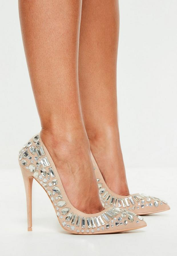 Nude Jewelled Pumps
