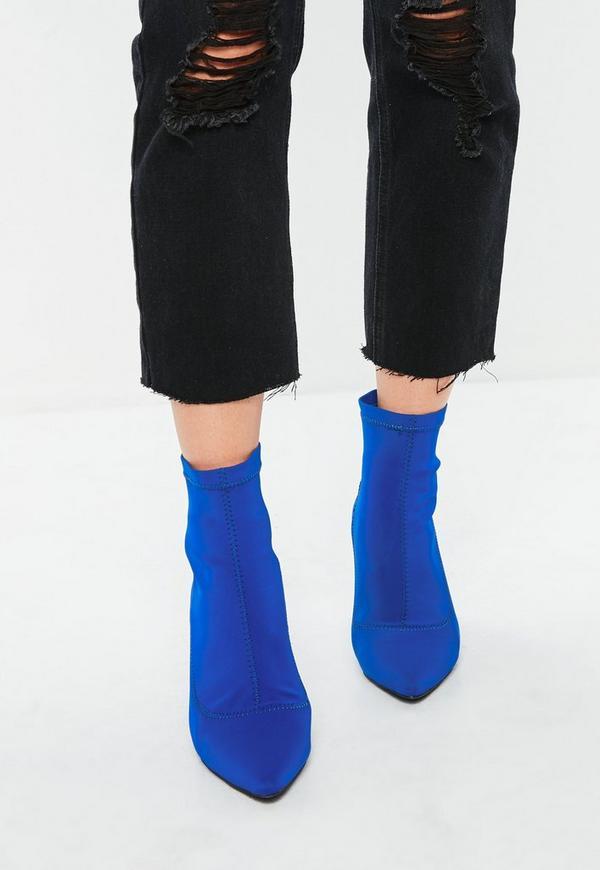bottines bleues talon transparent missguided. Black Bedroom Furniture Sets. Home Design Ideas