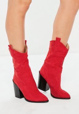 Czerwone westernowe buty kowbojki