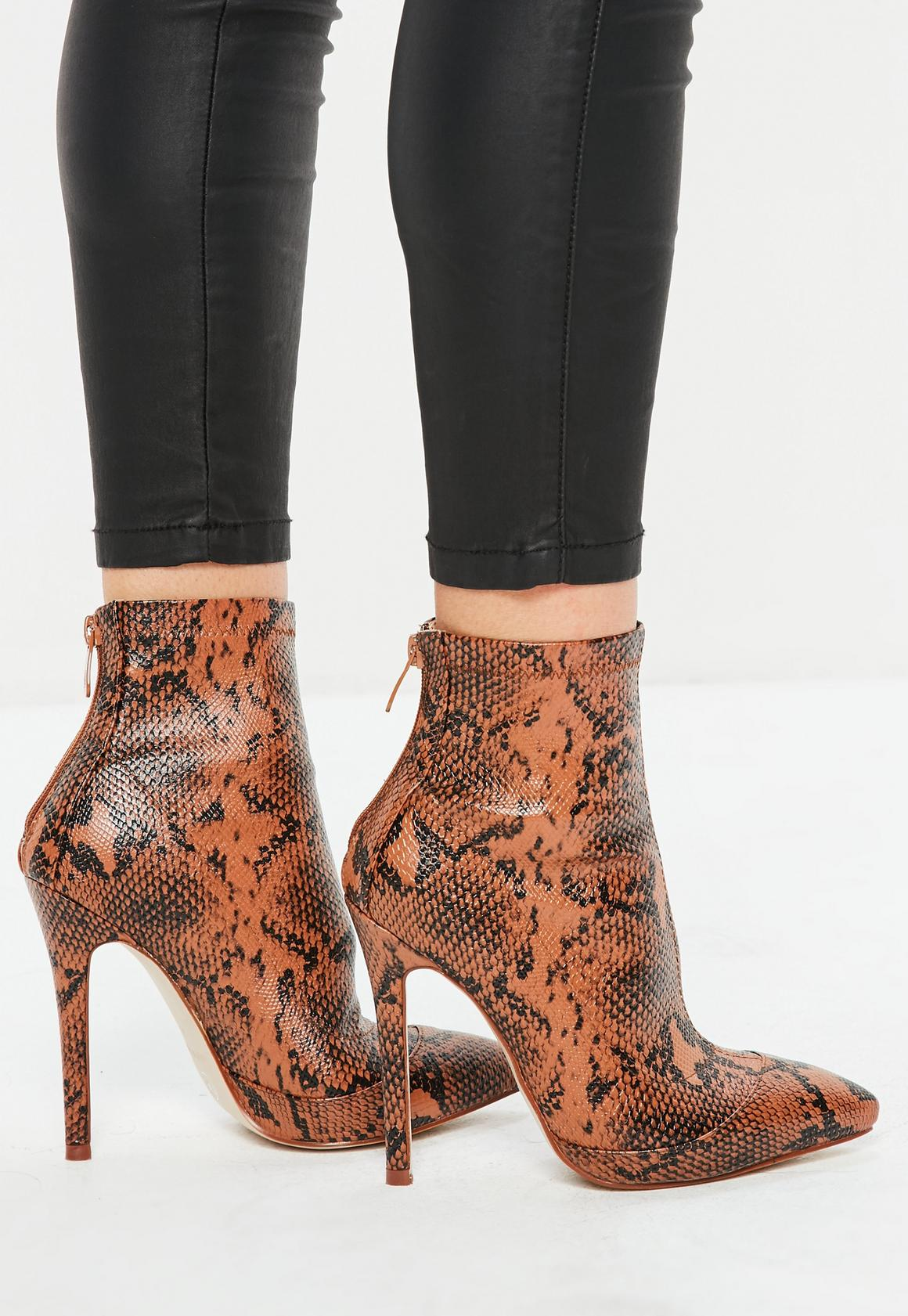 b788052ee55 Missguided Tan Snake Print Fitted Heeled Ankle Boots, Brown at £16 ...