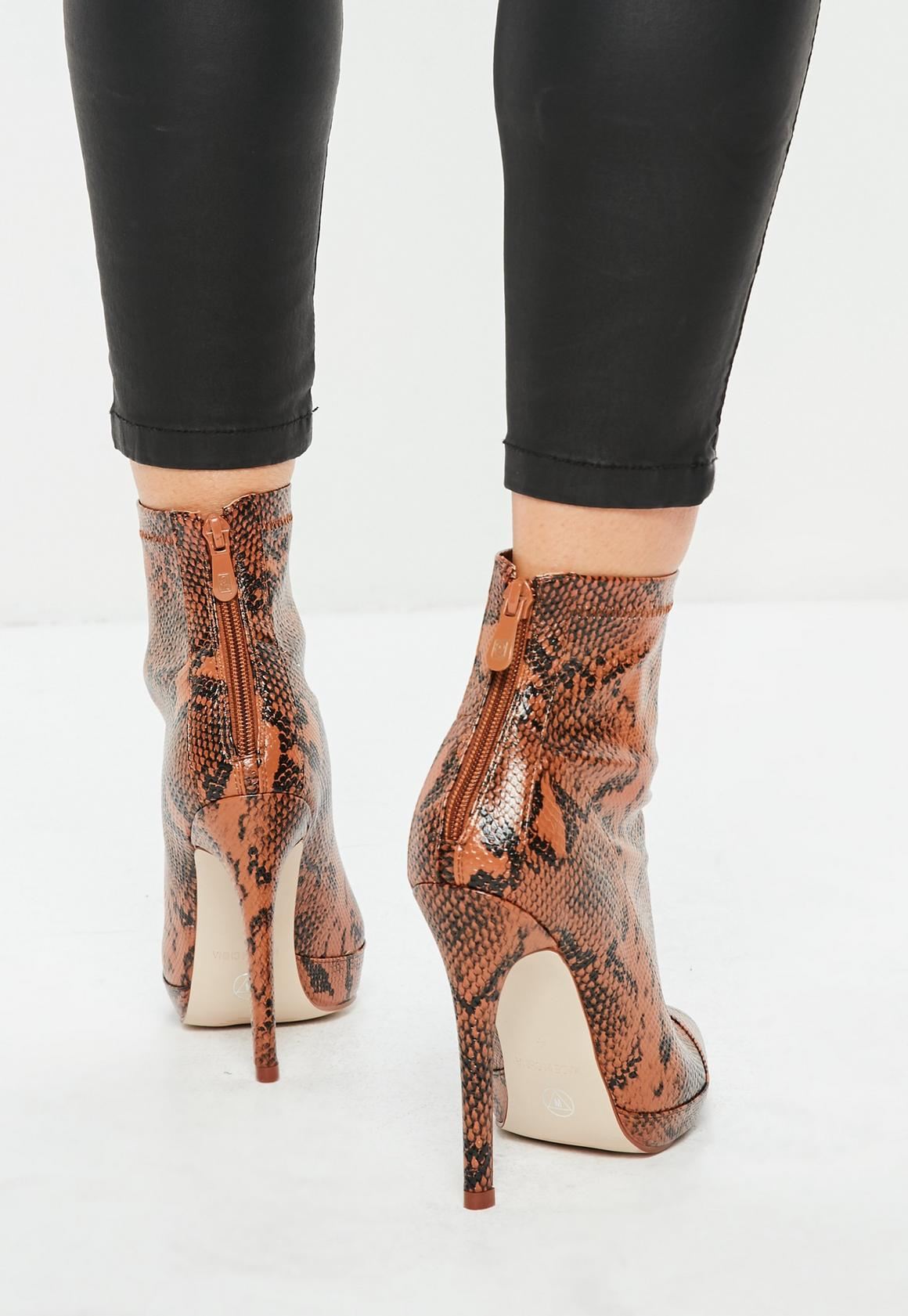 7de8cf1ecaa Tan Snake Print Fitted Heeled Ankle Boots, Brown