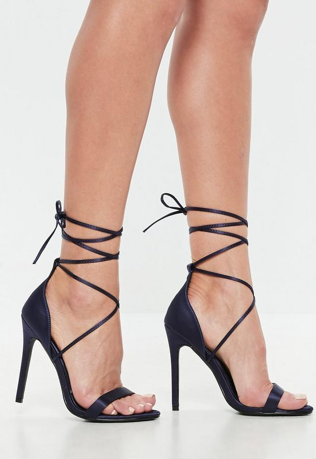 Product photo of Navy satin lace up barely there heels blue