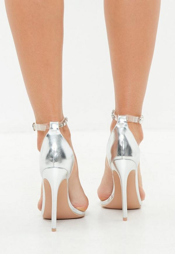 silberne high heels mit transparenten strass riemchen missguided. Black Bedroom Furniture Sets. Home Design Ideas