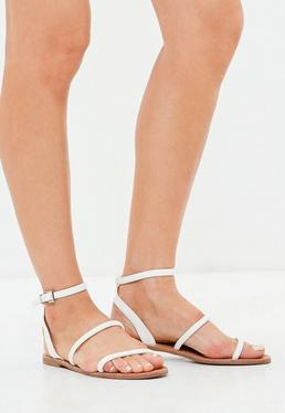 White Rounded 3 Strap Flat Sandals