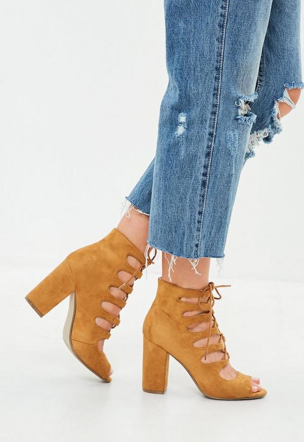1da2bcc14e2 Brown Ghillie Block Heeled Sandals