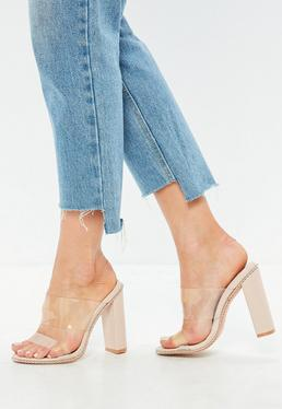 Nude Chain Trim Clear Heeled Mules