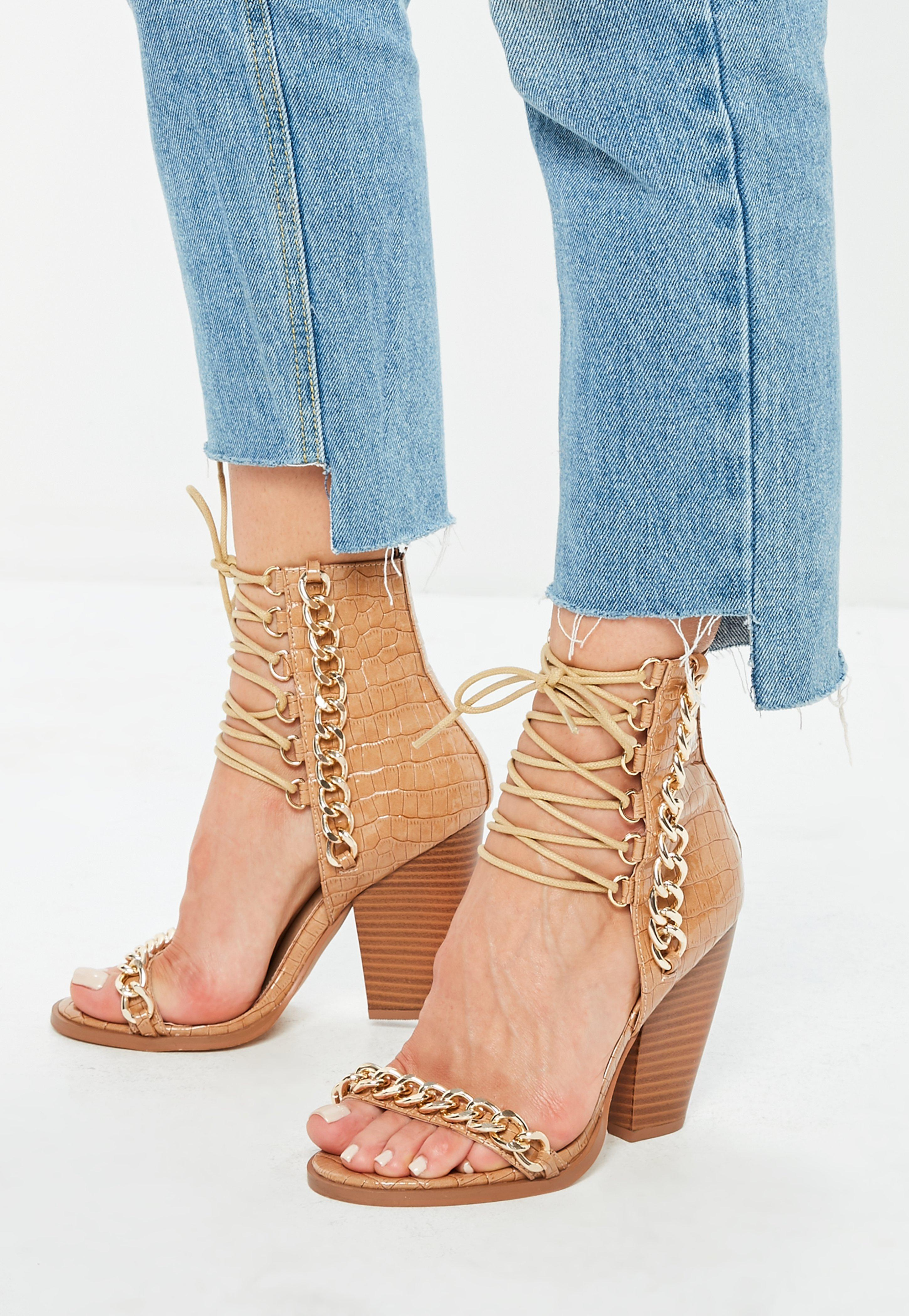 765e8189893 Nude Croc Chain Lace Up Heeled Sandals