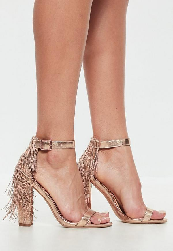 cfbc48fc0 rose-gold-chain-tassel-block-heel-metallic-sandals by