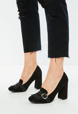 Black Studded Square Toe Pumps