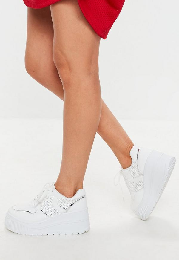 White Extreme Flatform Lace Up Trainers by Missguided