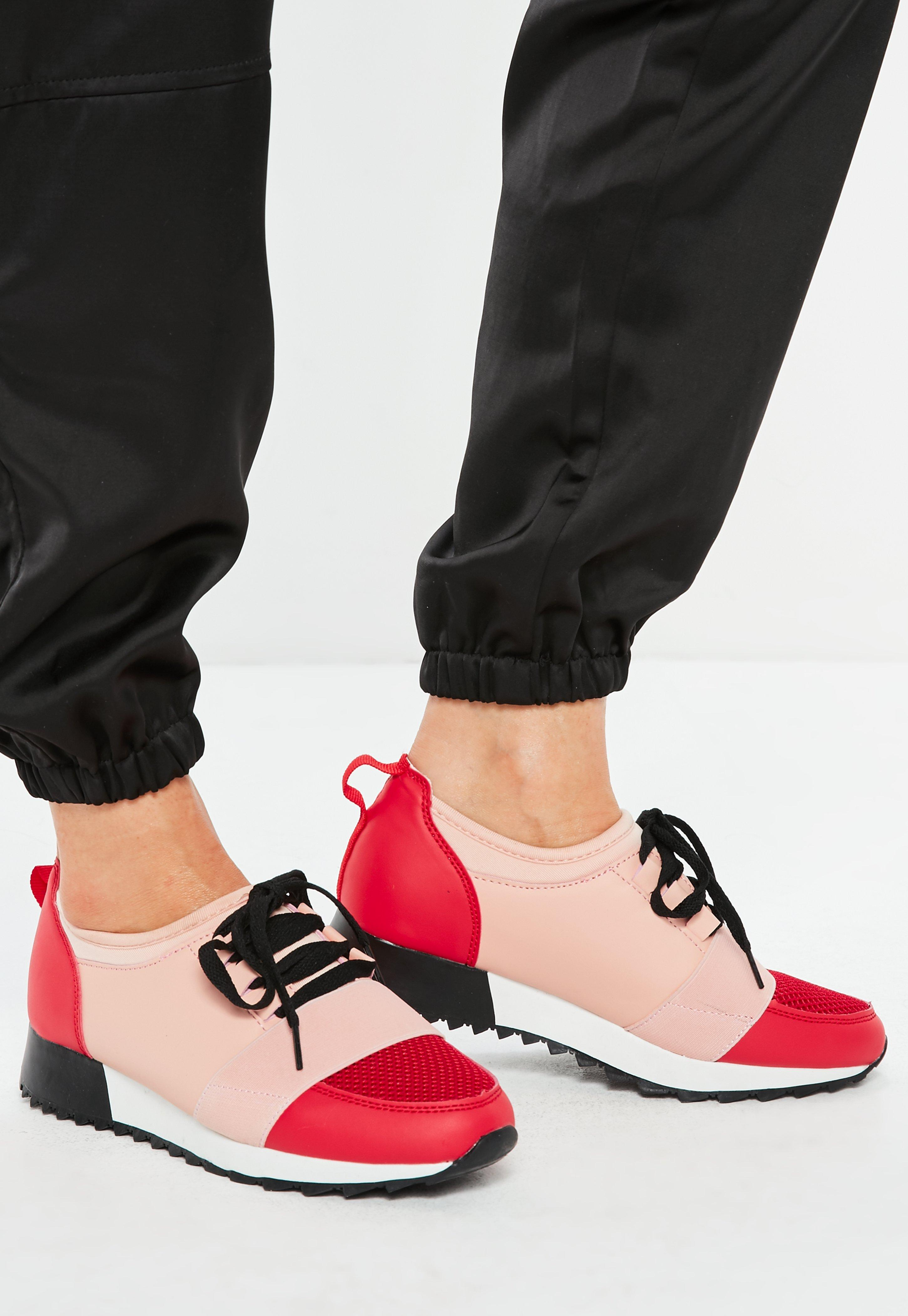 Pink Front Strap Lace Up Runner Trainers