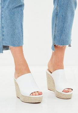 White Faux Leather Espadrille Wedge Heeled Sandals