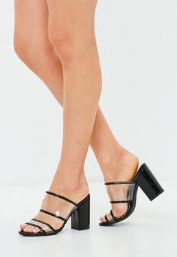 Black Two Strap Clear Heeled Mules
