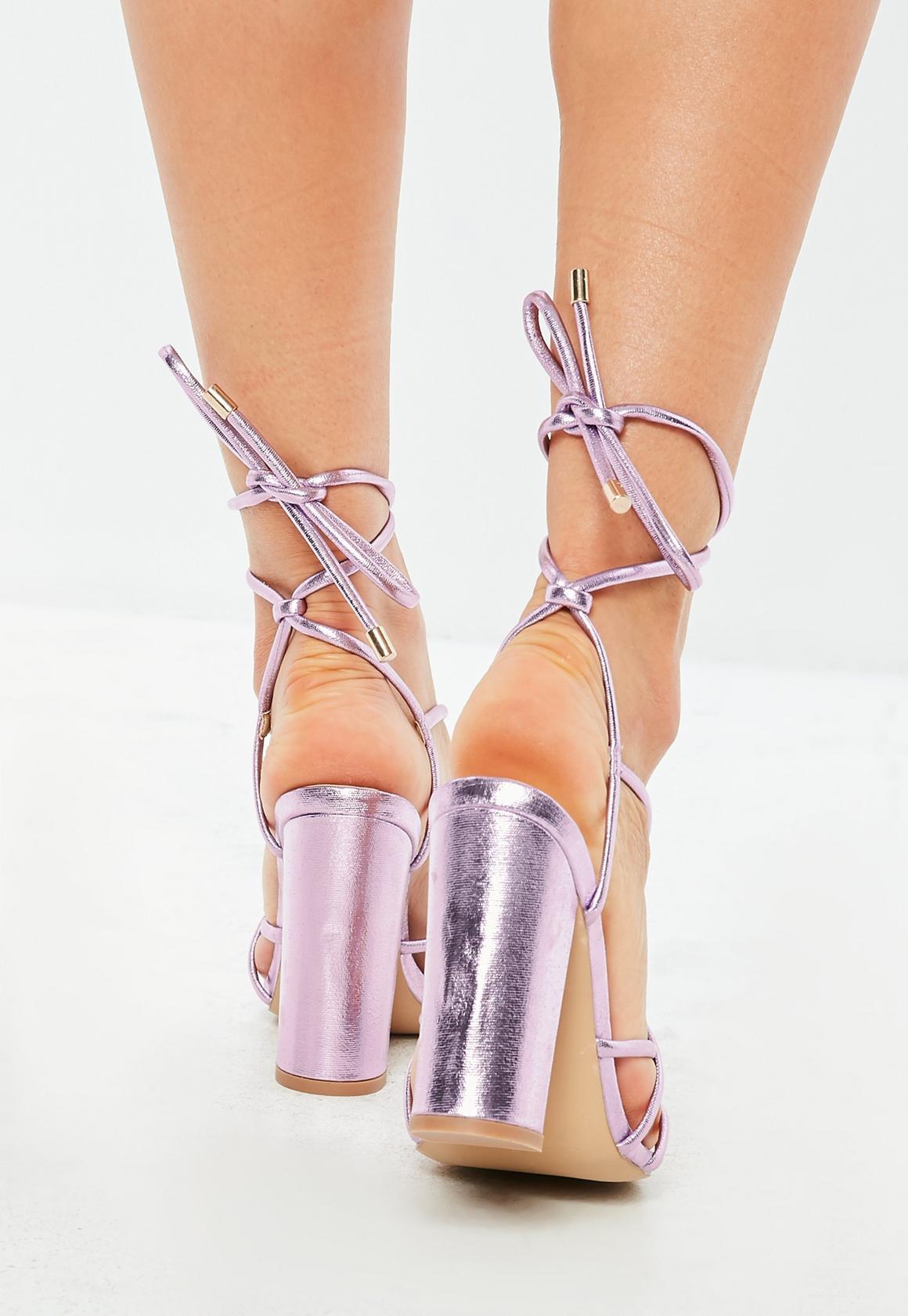 f3d9690575e Metallic Lace Up Block Heeled Sandals