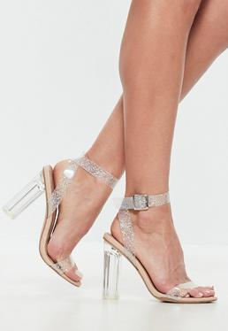 Nude Glitter Clear Heeled Sandals