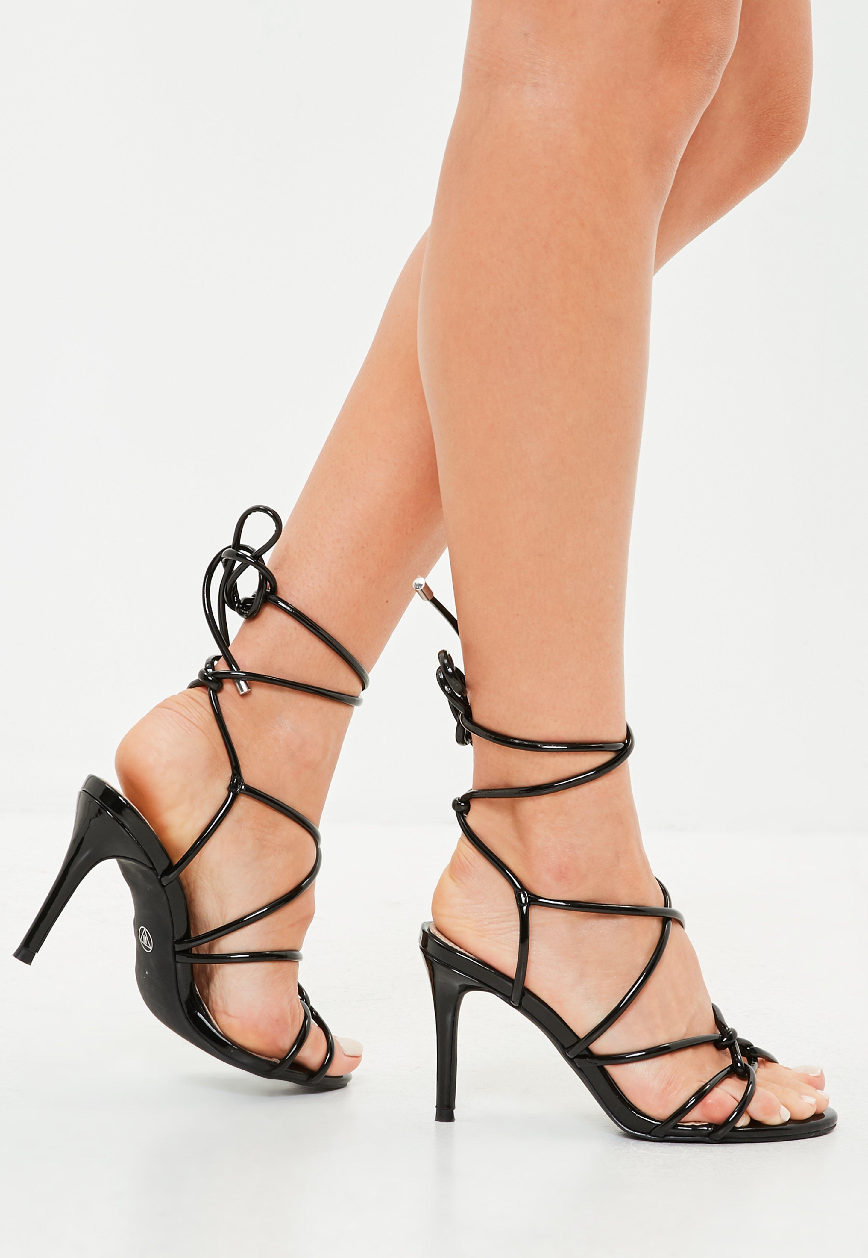 Black Multi Strap Gladiator Mid Heel Sandals